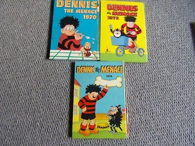 3 Dennis the Menace annuals from the Beano 1970,1972 and 1974