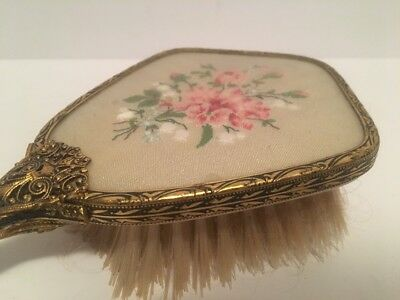 """Vintage Antique Petit Point Embroidery Dressing Table 11"""" Hair Brush"""