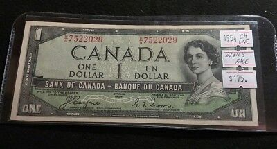 Canada 1954 One Dollar Devil's Face UNC Coyne-Towers Nice RARE Banknote CV$175