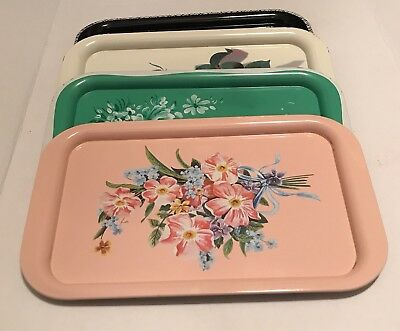 Metal Heavy Steel 4 Trays Woolworth Flower Trays Black Pink Green Ivory Vtg 9x14