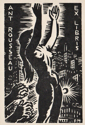 Frans MASEREEL Weibl. Akt Exlibris Rouuseau Erotic Nude 1959 Wood Engraving X2