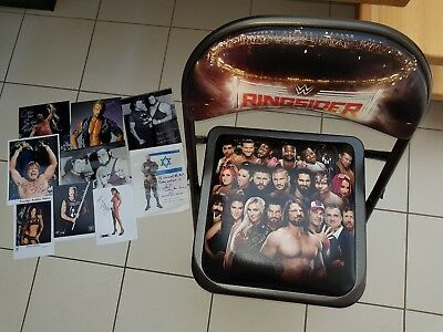 WWE Ringside Chair plus Autographed Photos plus Great American Bash VHS