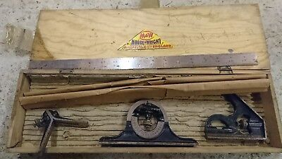 MOORE & WRIGHT COMBINATION SET SQUARE SET With wooden case.
