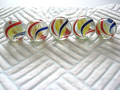 5 HANDMADE MARBLES X5 SAME CANE YELLOW LATTICINIO ANTIQUE GERMAN 1850-1870 13mm