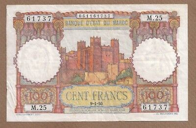 MOROCCO: 100 Francs Banknote,(VF),P-45,09.01.1950,No Reserve!
