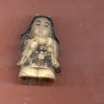 Girl With Pink Bow  Japanese Colored Netsuke  319
