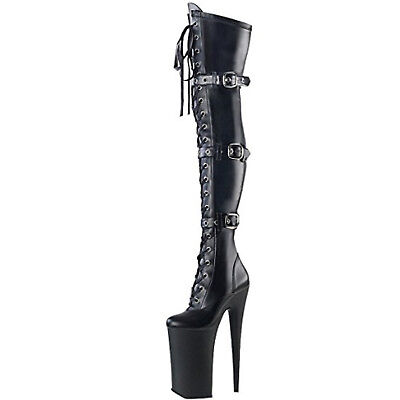 "PLEASER BEYOND-3028 10'' Heel 6"" Platform Lace-Up Front Thigh Exotic Boot Black"