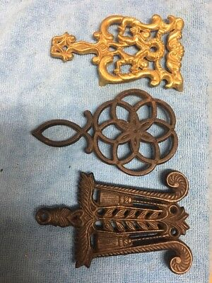 Vintage Collectible Lot Of Cast Iron and brass      Trivets