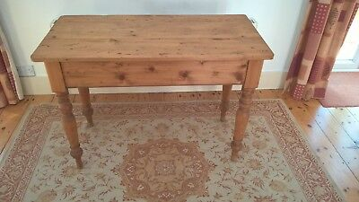 Pine table, small, antique, stripped, single drawer