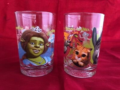 2007 Shrek the Third McDonald's Collector Glasses Set of 2