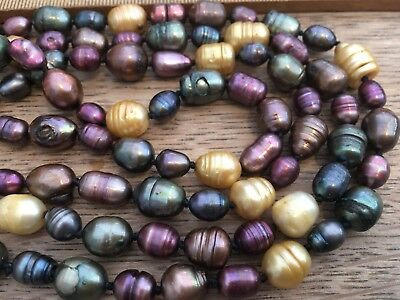 Gorgeous Vintage Freshwater Pearl Necklace, Vintage Colourful Freshwater Pearls