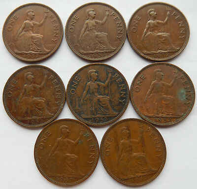 """1937 UK Great Britain Penny Coin """"Lot of 8 Coins"""" SB5262"""