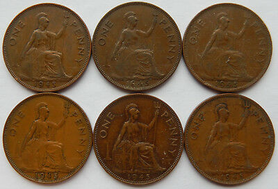 "1945 UK Great Britain Penny Coin ""Lot of 6 Coins"" SB5265"