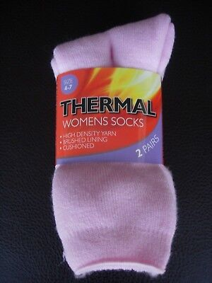 2 Pairs Of Thermal Women's Socks - Size 4-7 - Pink - New - Unwanted Gift