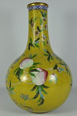 """Important Signed 10.3"""" Chinese Cloisonne Imperial Enamel Vase Tian Qiu Ping Art"""