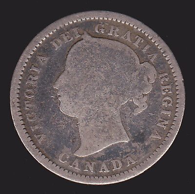 """Canada 1870 10 Cents Wide """"0"""" variety AG-Good Victoria Canadian Dime Silver Coin"""
