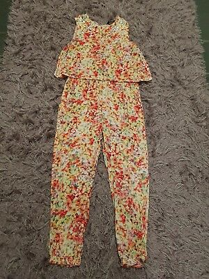 girls george floral jumpsuit size 6/7 fab condition