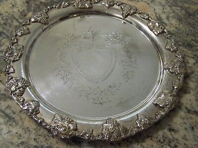 Amoral Victorian Sheffield Style Silver Grape Vintage Border Large Round Tray