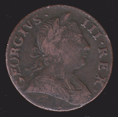 """UK Britain 1775 Non Regal Halfpenny Fine 1/2 Penny Tilted """"5""""  US Colonial Coin"""