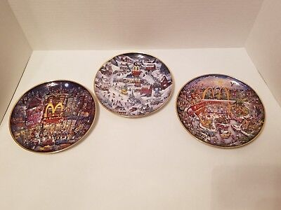 McDonald's Franklin Mint Porcelain Collector Plate by Bill Bell - Lot of 3