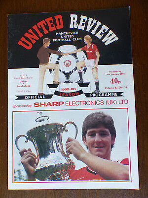 FA Cup 4th round replay - Programme - Man United v Sunderland - 29th Jan 1986