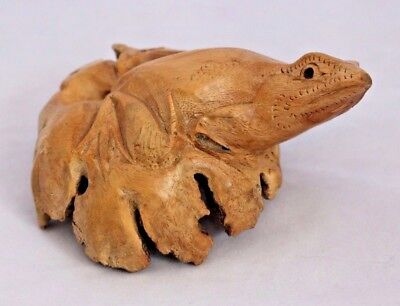 Wood Tree Spirit Burl Wood Knot Carved Frog Sculpture Folk Art