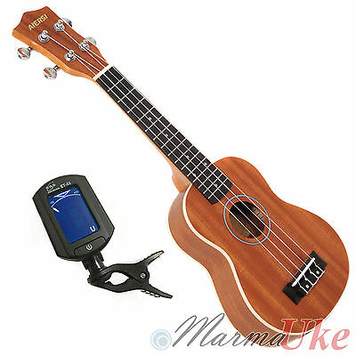 Mahogany Soprano Ukulele with Digital Tuner - by Aiersi with Cream Binding