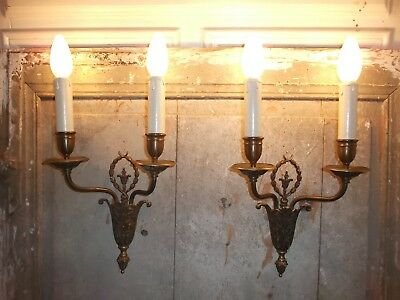 French stunning antique set of 2 sconces wall light ornately chateau, patina
