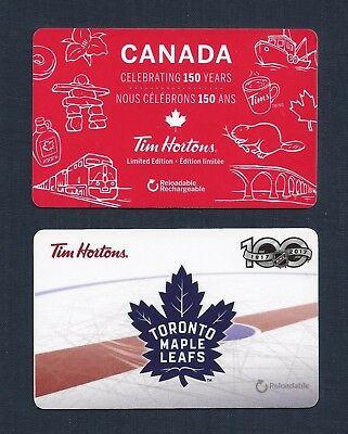 Tim Horton's Canada 150 Years & Toronto Maple Leafs 100 Years 2017 Gift Cards