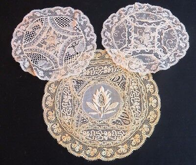 Antique French Normandy Doilies Table Doily Coasters Whitework Needle Run 3 pc