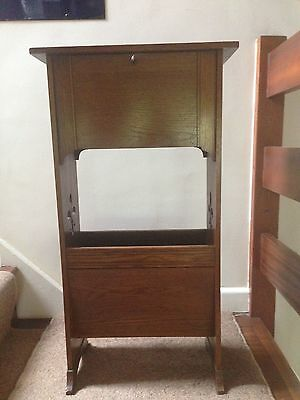 Antique Edwardian Art & Crafts Magazine Book Stand Pipe Smokers Cabinet Table