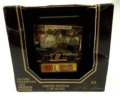Rusty Wallace #2 1993 NASCAR RACING CHAMPIONS Premier Edition Car Stand Card