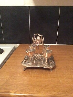 Vintage Silver Plated 4 Egg Cup Set And Stand Quality Piece and 4 Silver spoons