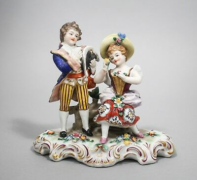 Antique china porcelain figurine couple pair Capodimonte crown N mark/German