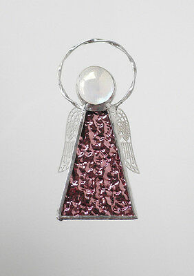 Leadlight Stained Glass Pink Angel Halo Silver wings handmade in Australia