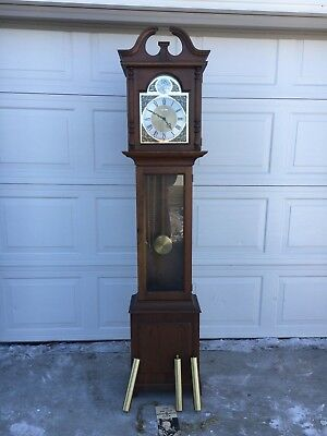 Vintage Howard Miller Granfather Clock 150 Westminster Chime Weight Driven 4878