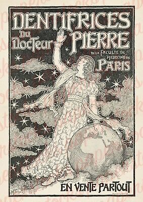 c.1800's 'DENTIFRICES DE DR. PIERRE' PARIS DENTIST BEAUTY ADVERTISING A3 PRINT