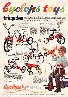c.1950's CYCLOPS TOYS TRICYCLES VINTAGE AUSTRALIAN ADVERTISEMENT A3 PRINT
