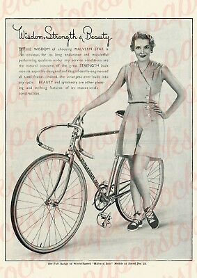 """c.1930's """"MALVERN STAR"""" BICYCLES MELBOURNE PINUP GIRL A3 PRINT HISTORICAL"""