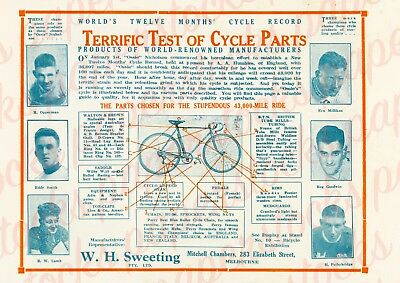 """1933 W.h.sweeting """"Cycle Parts Test"""" A3 Print Historical Bicycle Opperman Melb"""