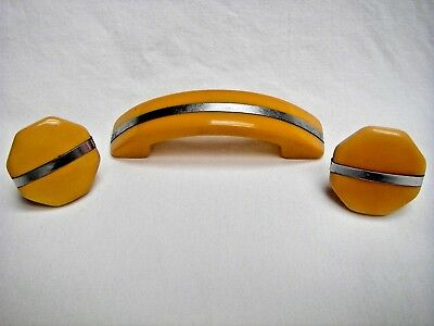 Vintage Gold Bakelite Cabinet Drawer Handle Pull And (2) Knobs W/metal Strip