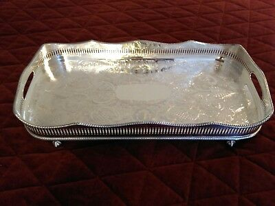 "Vintage Reed & Barton Sliver on Copper Serving Tray, 18"" by 9""."