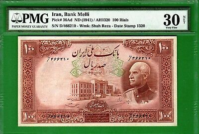 M-East ND(1941/1320)Reza Shah Pahlavi 100 Rial P36Ad PMG30 Very Fine NET