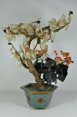 "Fine Old Big Heavy 15"" China Chinese Jade Coral Tree Cloisonne Enamel Planter"