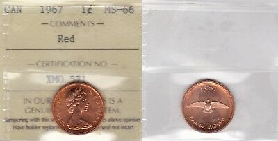 1967 ICCS MS66 1 cent Red Canada one penny Centennial rock dove