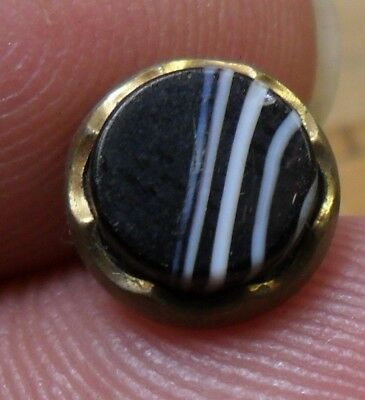 """NICE 3/8"""" Black and White Waistcoat Metal Antique Button 327:15"""
