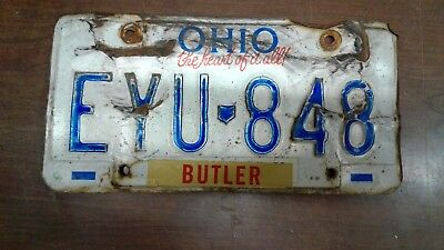 Old Ohio License plate Tag Barn Find Rusty FAST FREE SHIPPING