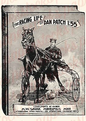 c.1900's THE RACING LIFE OF DAN PATCH HORSE RACING VINTAGE ADVERTISING A3 PRINT