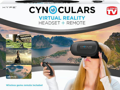 Cynoculars Virtual Reality Vr Headset + Remote For 3D View Of Movies Games