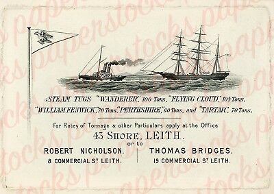 c.1860s LEITH SCOTLAND STEAM TUGBOATS NICHOLSON BRIDGES OLD ADVERTISING A3 PRINT